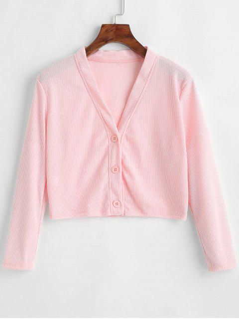 womens Ribbed Button Up Cropped Light Cardigan - PINK XL Mobile