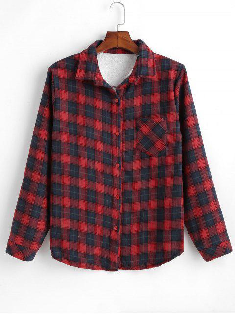 affordable Fleece Lined Plaid Shirt - MULTI XL Mobile
