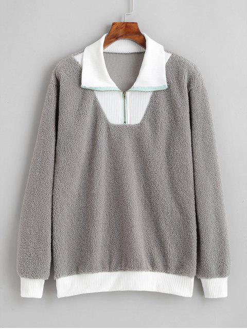 lady Faux Fur Quarter Zip Pullover Sweatshirt - LIGHT GRAY S Mobile