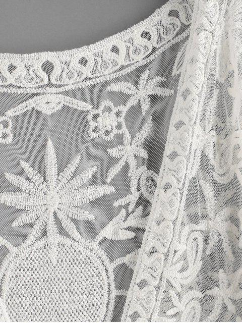fancy Lace Open Front Longline Cover Up - WHITE ONE SIZE Mobile