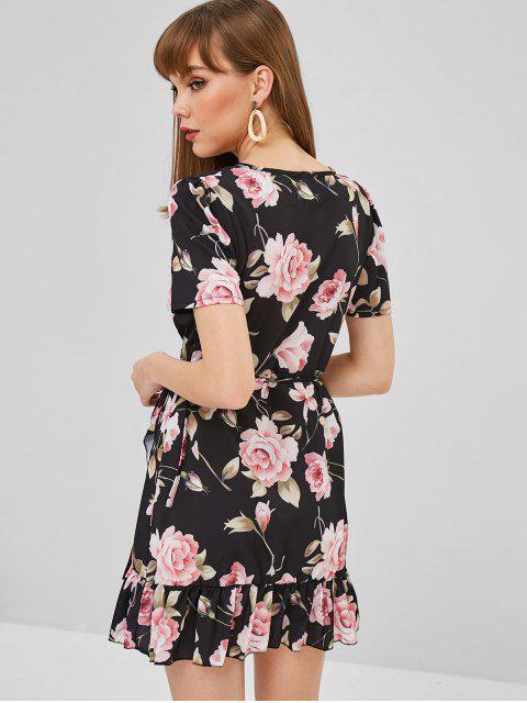 Robe Enverloppée Fleur à Volants - Noir S Mobile