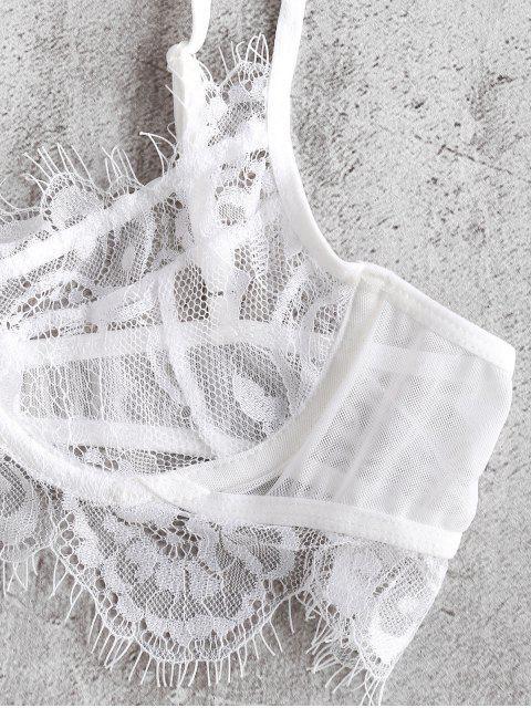 affordable Lace Underwire Eyelash Lingerie Set - WHITE XL Mobile