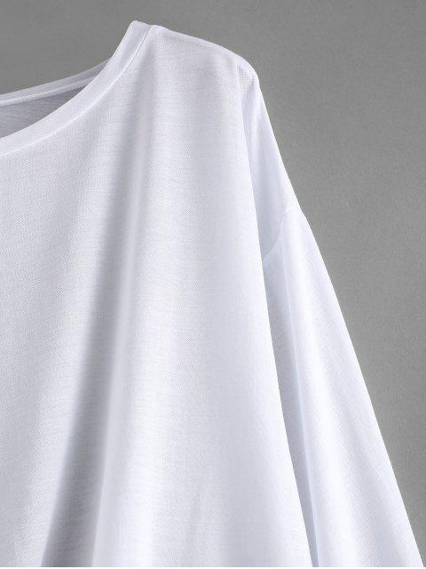 affordable Tie Side Drop Shoulder Beach Cover Up Top - WHITE ONE SIZE Mobile