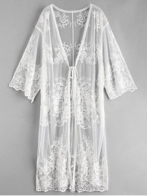 buy Lace Tie Front Longline Kimono Cover Up - WHITE ONE SIZE Mobile