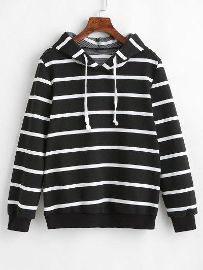 894c687c920 ZAFUL Drawstring Striped Hoodie - Black L ...
