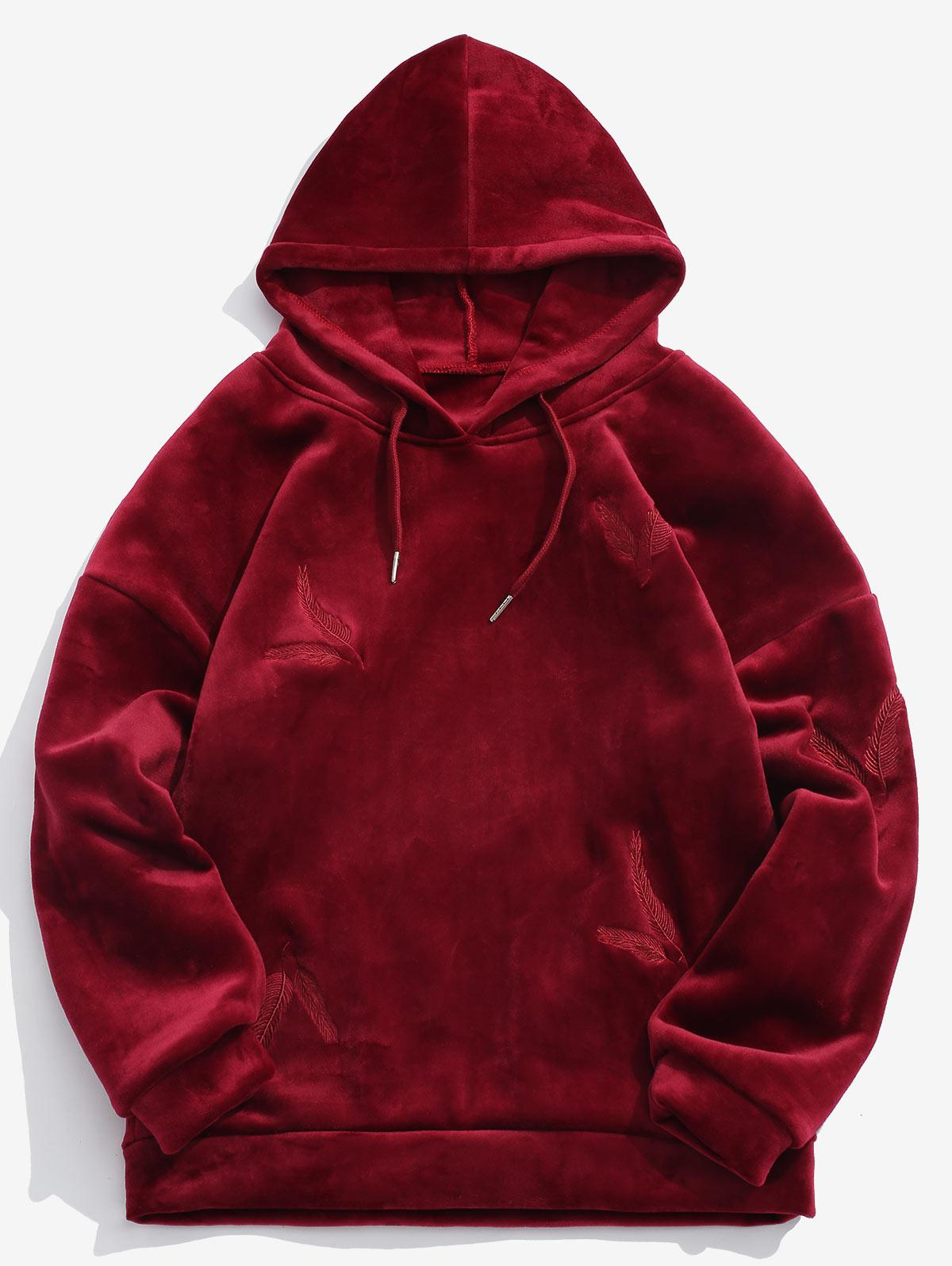 Solid Feather Embroidery Velvet Hoodie фото