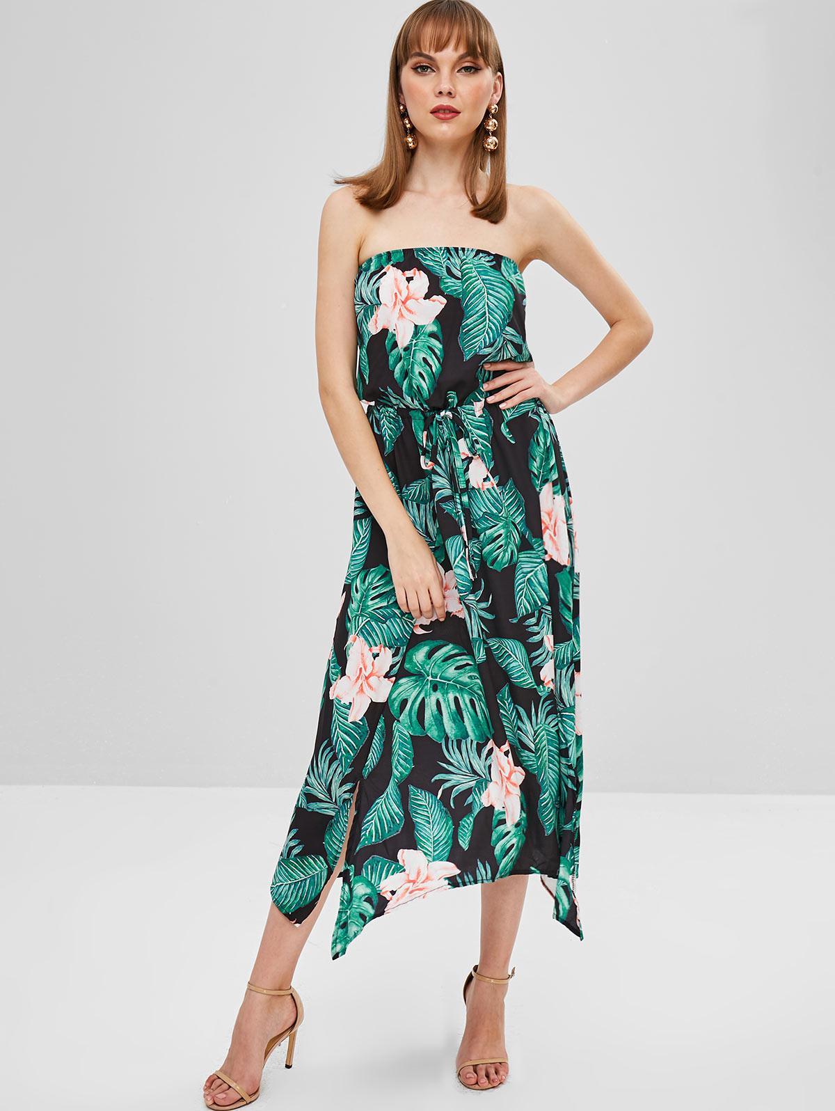 Flower Palm Bandeau Slit Dress фото
