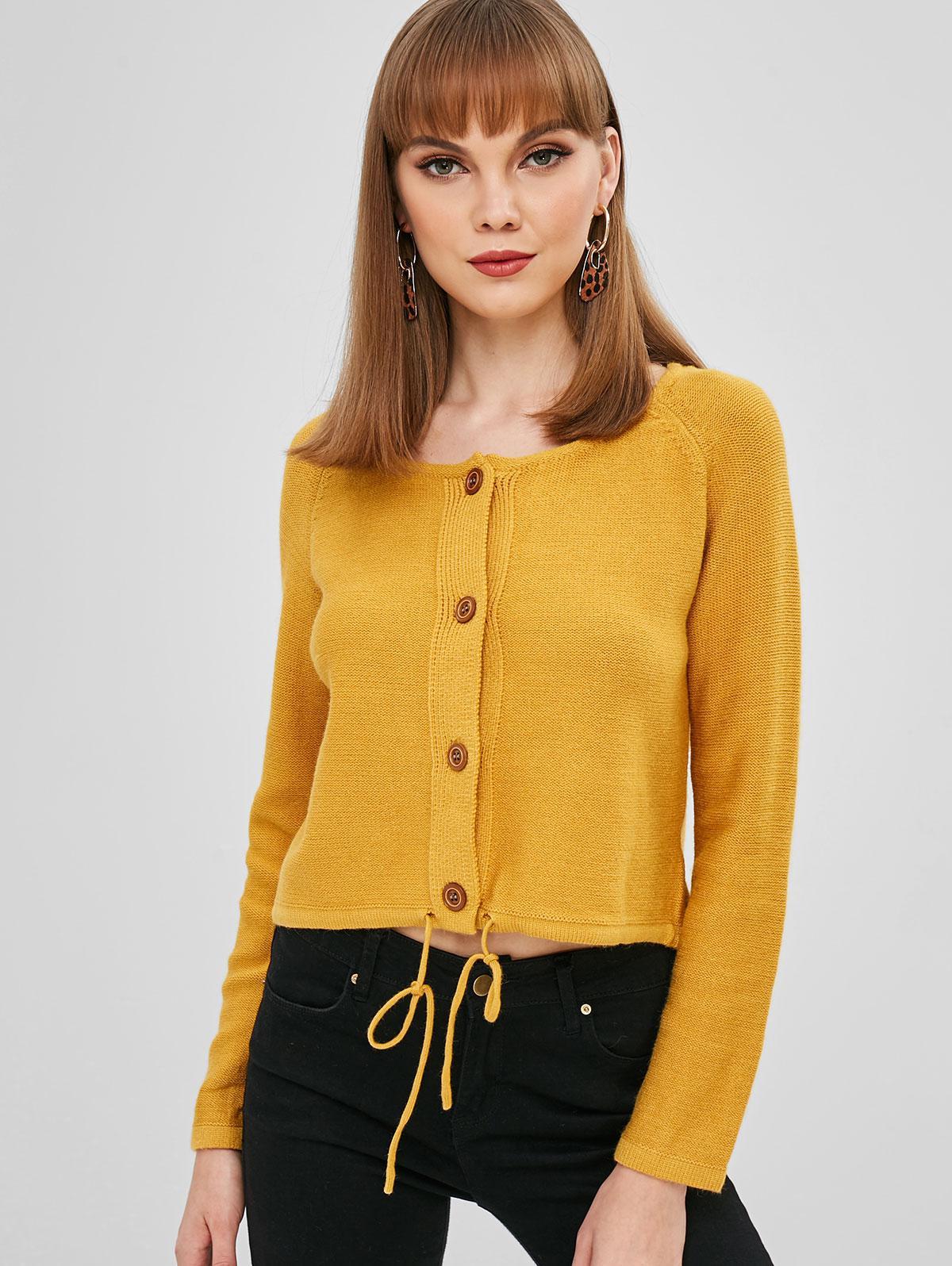 Drawstring Raglan Sleeve Button Up Cardigan, Yellow