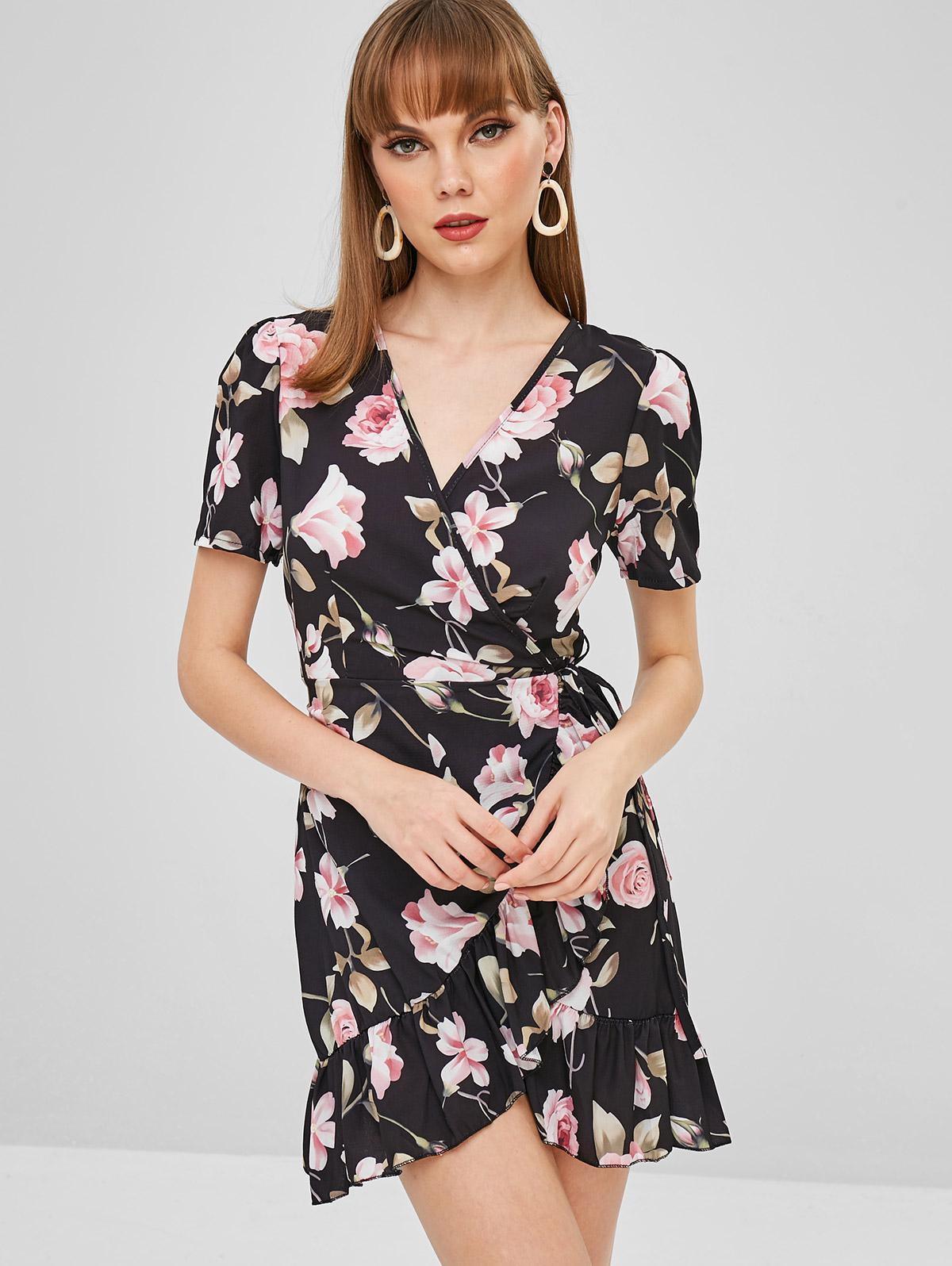 Flower Ruffle Wrap Dress