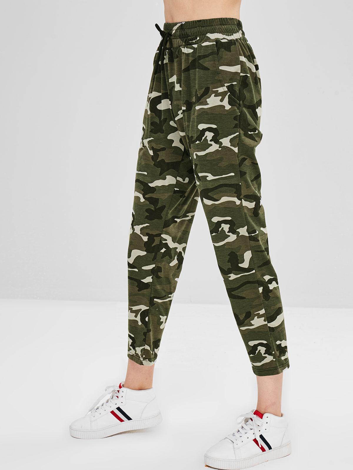 Camouflage Drawstring Capri Pants фото