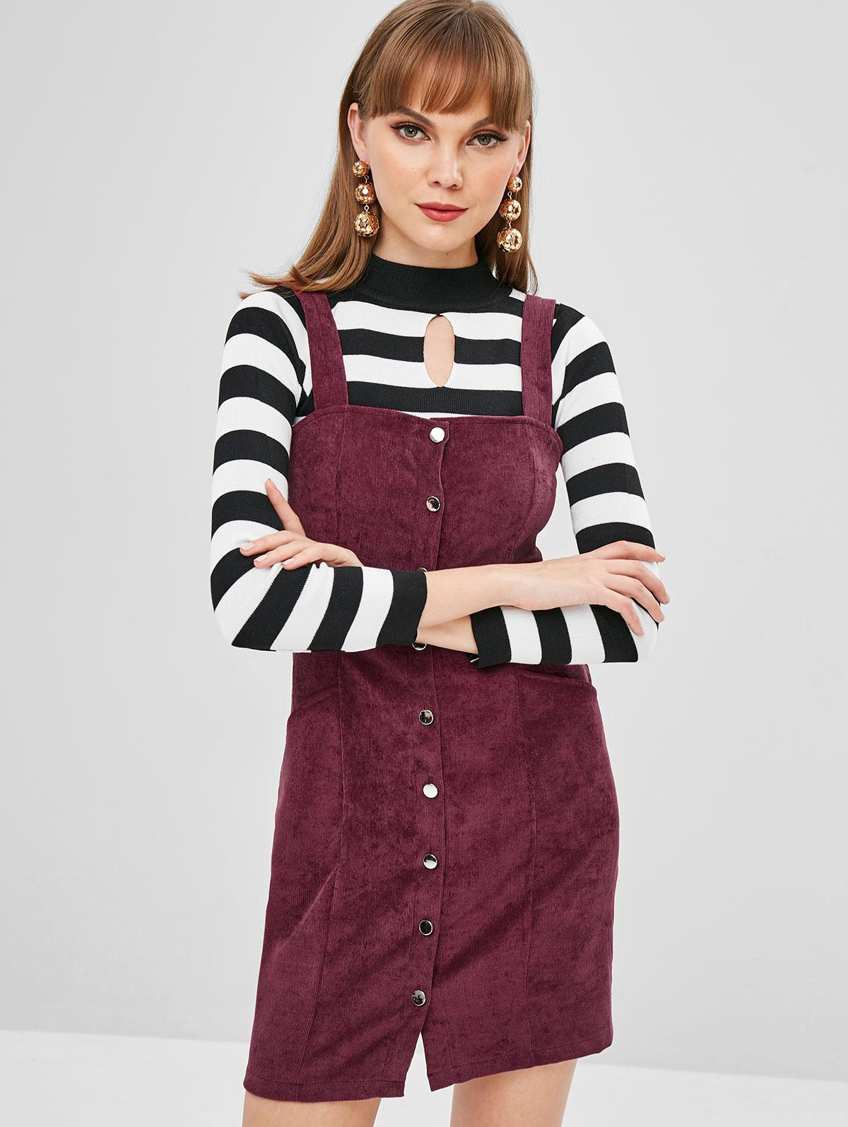 Button Through Corduroy Pinafore Mini Dress фото