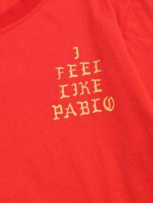 2890f3b8c 21% OFF] 2019 Long Sleeves Letter Graphic T Shirt In RED | ZAFUL