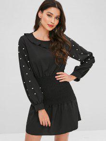 فستان مطرز من الكشكشة - أسود L