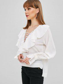 2eb234b72ac 47% OFF] 2019 Ruffles Lace Up High Low Blouse In WHITE | ZAFUL