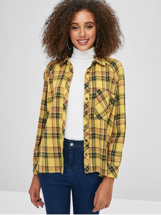 women ZAFUL Front Pocket Plaid Tunic Shirt - BEE YELLOW S