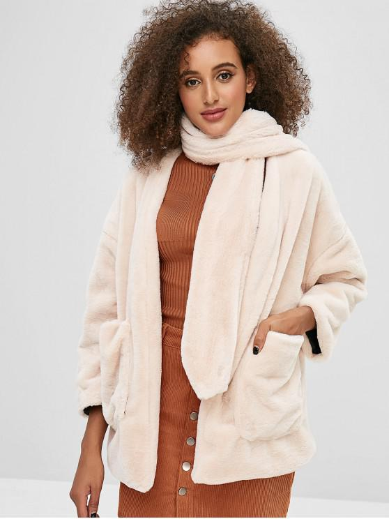 ladies Scarf Open Front Faux Fur Coat - WARM WHITE ONE SIZE