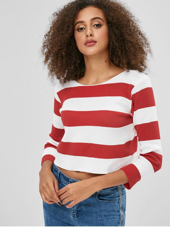 sale Pullover Striped Cropped Sweater - RED ONE SIZE