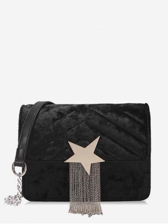 Fringe Star Chain Crossbody Bag - Nero