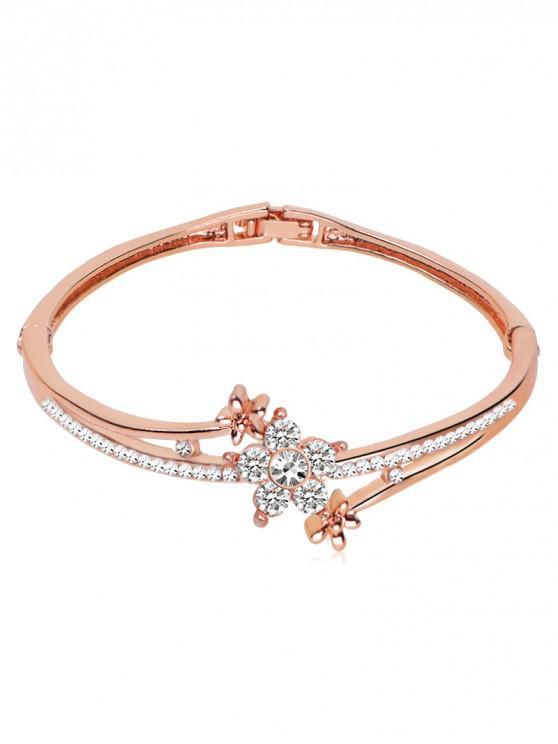 fashion Rhinestone Inlaid Floral Design Bracelet - ROSE GOLD