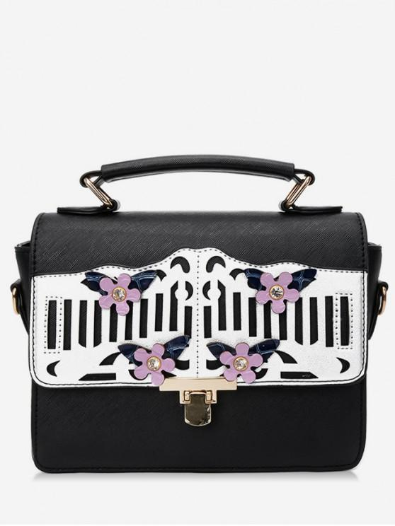 ladies Floral Hollow Out Decoration Handbag - BLACK