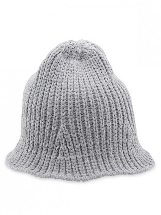 lady Crochet Knitted Foldable Bucket Hat - GRAY
