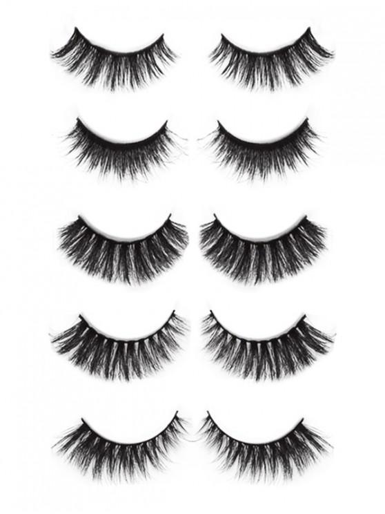 lady Cosmetic 5 Pairs 3D Mink Hair Natural False Eyelashes Set - BLACK