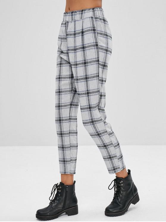 Calças retas de cintura alta xadrez - Multi-A M
