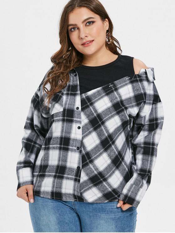 women Plus Size Open Shoulder Plaid Blouse - BLACK 1X