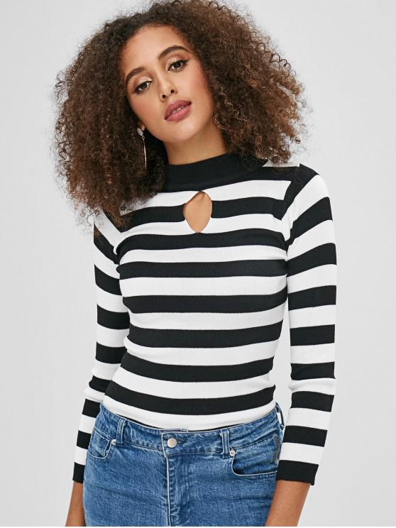 buy Keyhole Striped Sweater - BLACK ONE SIZE