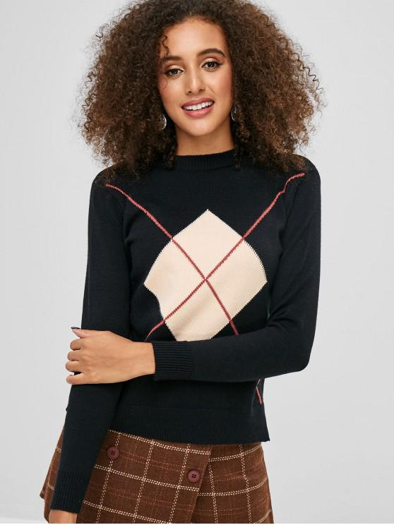 unique Geometric Side Slit Jumper Sweater - BLACK ONE SIZE