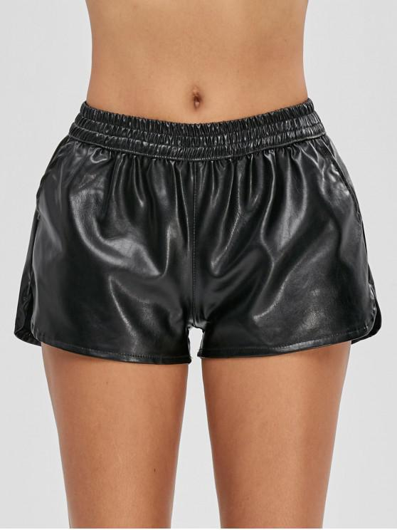 outfit Pockets PU Leather Shorts - BLACK M