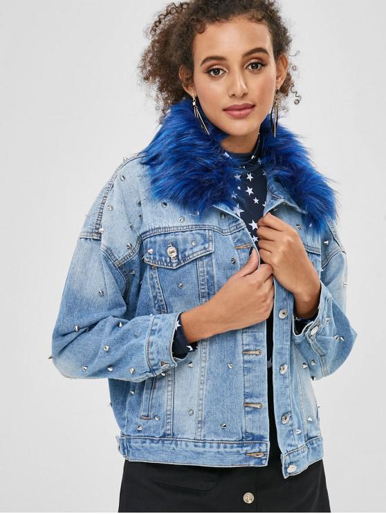 women's Faux Fur Collar Studded Denim Jacket - DENIM BLUE L