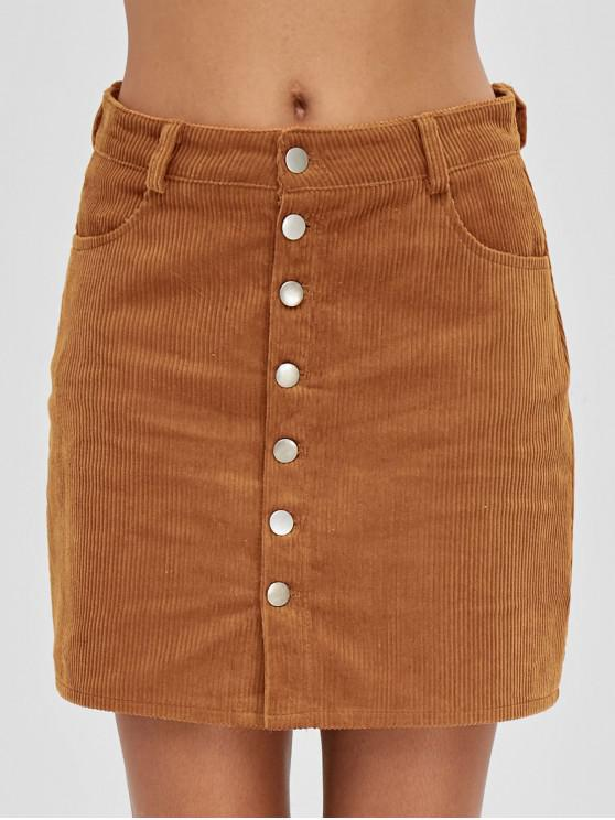 best Button Up Pockets Corduroy Skirt - TIGER ORANGE M