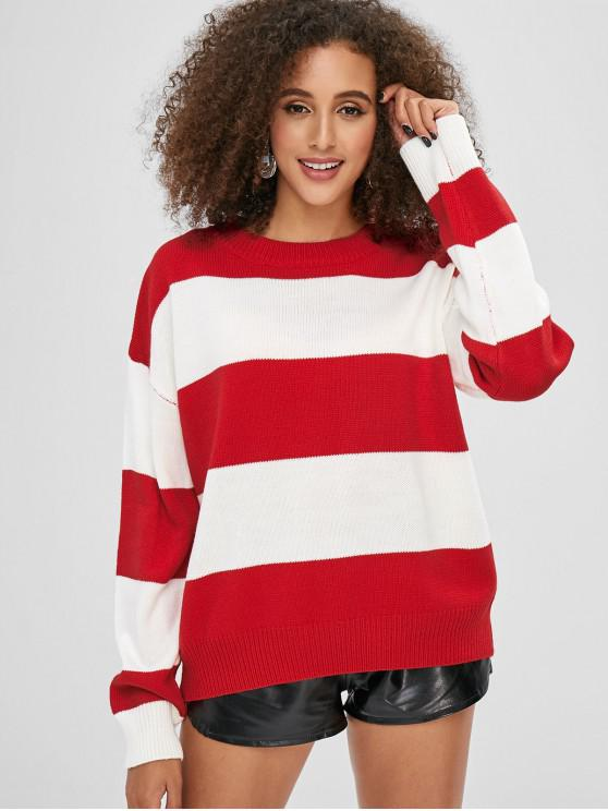 hot Casual Color Block Drop Shoulder Sweater - RED ONE SIZE