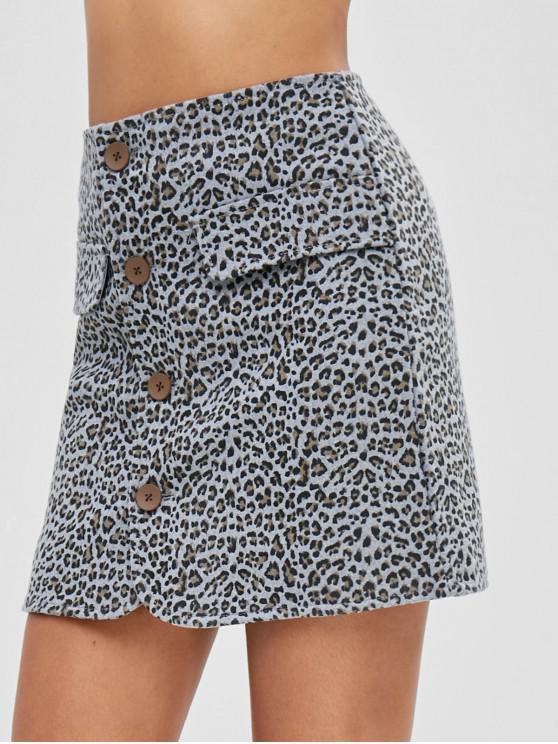 shop Button Up Mini Leopard Skirt - MULTI XL