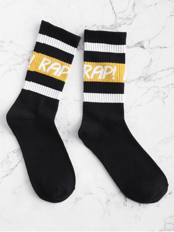 ladies Graphic Striped Gym Crew Socks - BLACK ONE SIZE