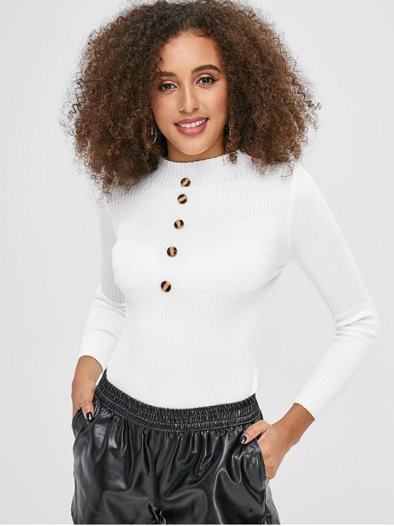 Botón entallado adornado suéter acanalado - Blanco Talla única