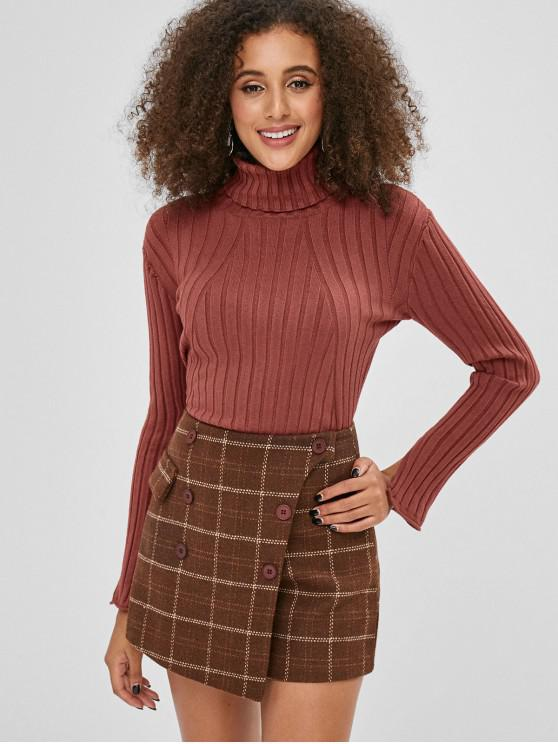 best Turtleneck Flare Sleeve Ribbed Sweater - BROWN ONE SIZE