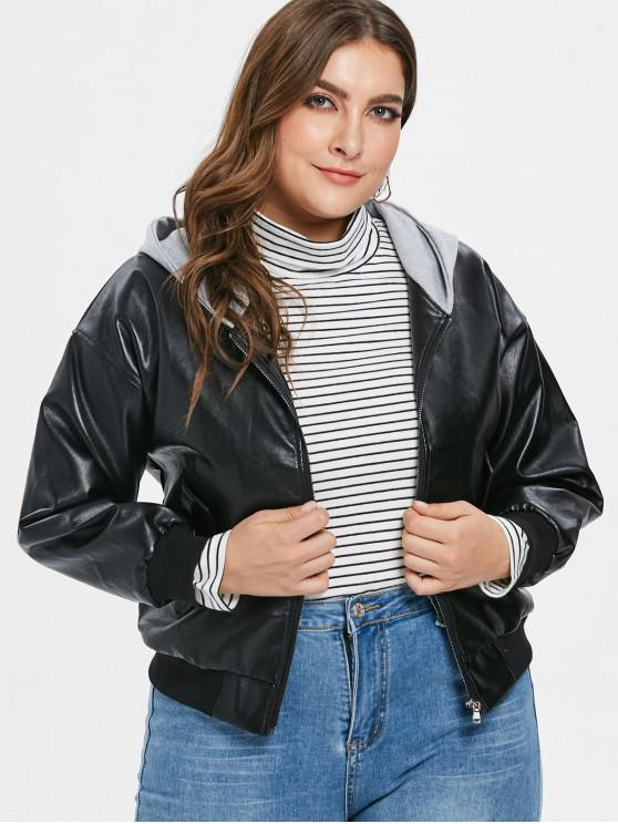 trendy Hooded PU Leather Plus Size Jacket - BLACK 3X