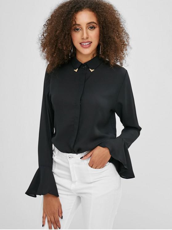 Aufflackern Ärmel Button Up Shirt - Schwarz XL