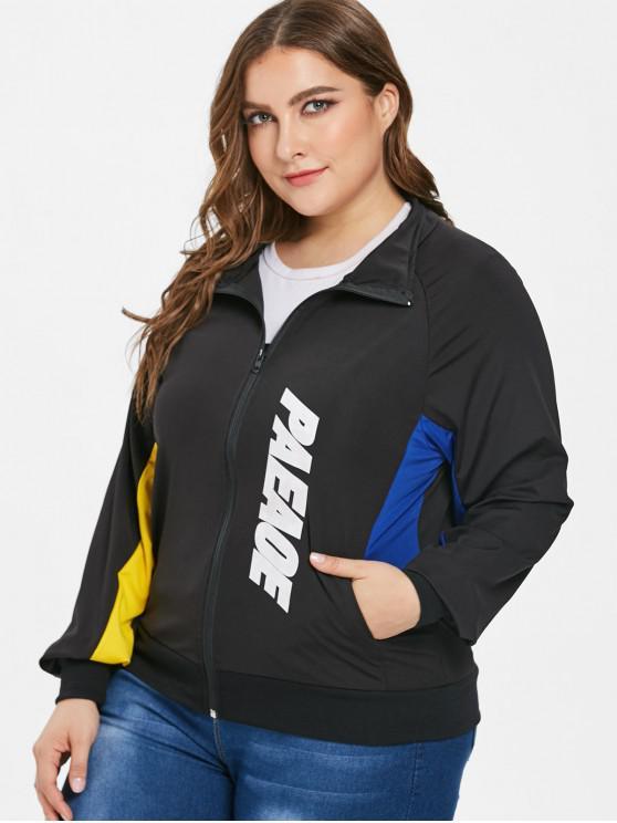 Color Block Graphic Plus Size Jacket - Negro 4X