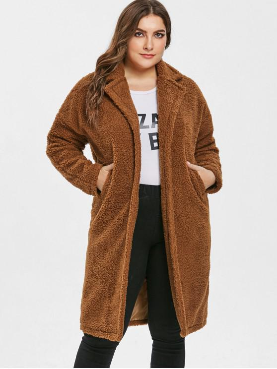 outfit Longline Open Front Plus Size Teddy Coat - BROWN 3X