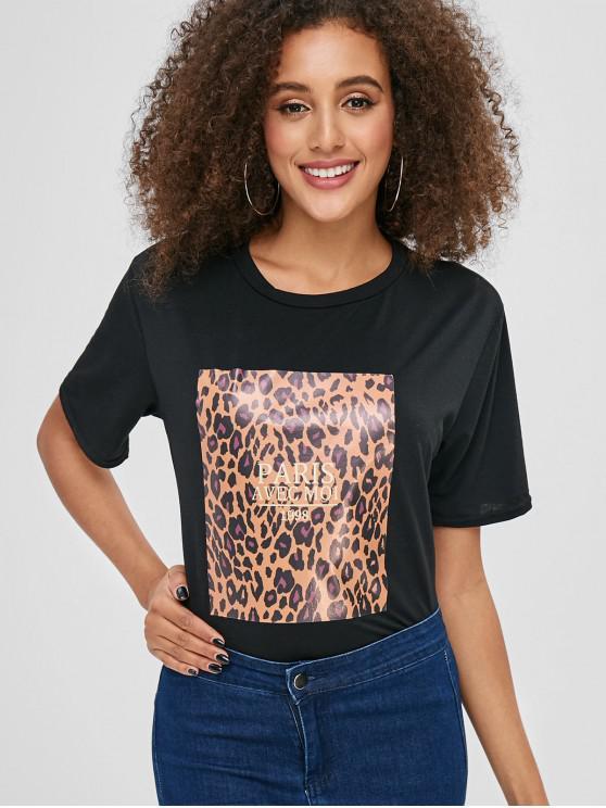 Camiseta con cuello redondo y gráfico con carta de leopardo - Negro L