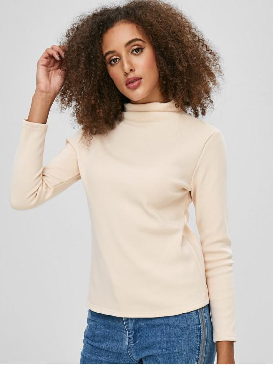 buy Mock Neck Fleece Top - APRICOT ONE SIZE