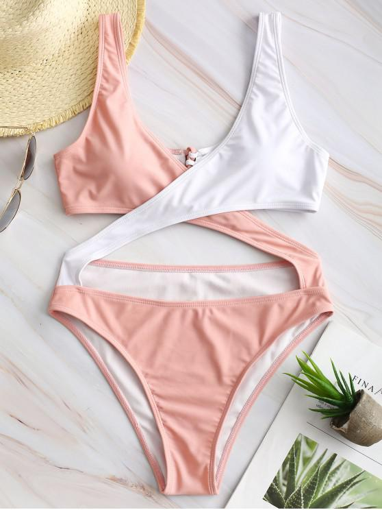 shops ZAFUL Two Tone Lace-up Crisscross Monokini - PINK S