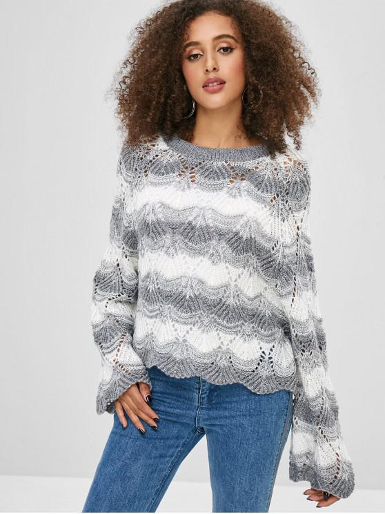 Pullover rayas suéter festoneado - Gris S