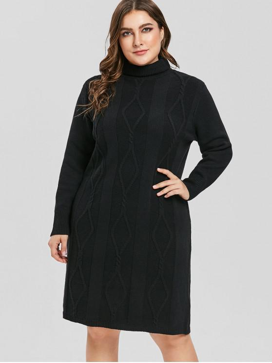 ab758fd6b46 52% OFF  2019 Fitted Plus Size Turtleneck Sweater Dress In BLACK