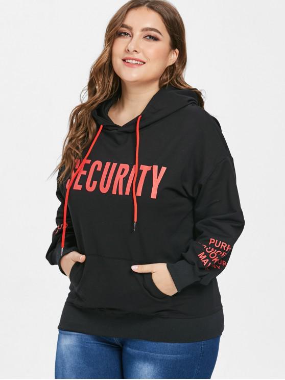 fashion Pullover Print Plus Size Pocket Hoodie - BLACK 3X