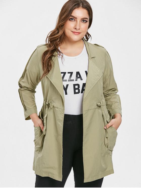 affordable Tunic Plus Size Drawstring Waist Coat - KHAKI 2X