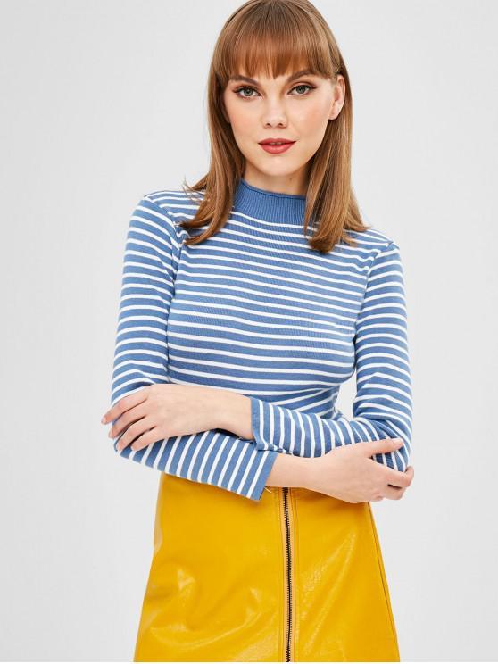 Suéter de cuello simulado a rayas - Azul Talla única